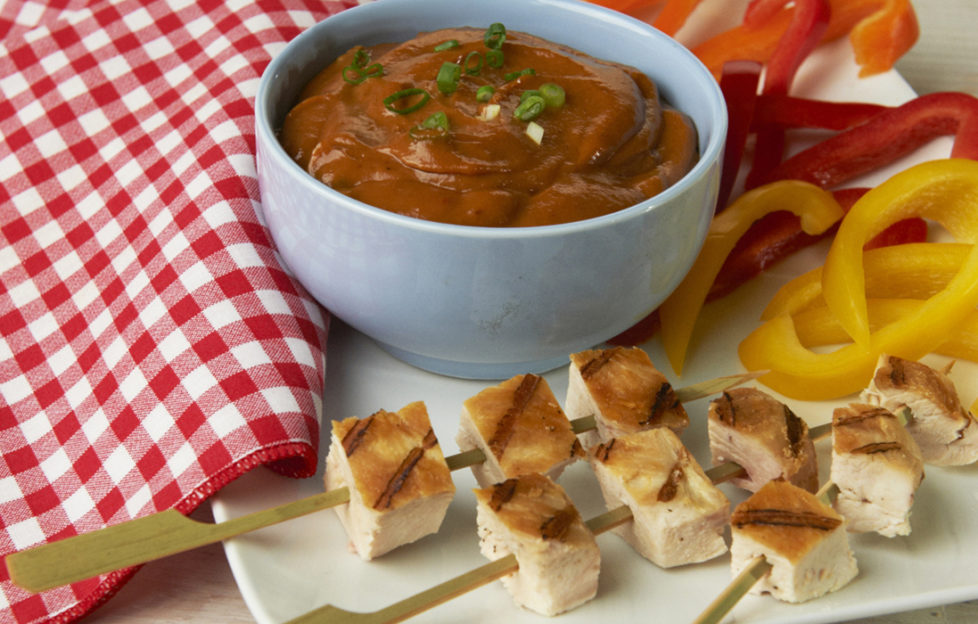 Chicken with peanut and bbq dip