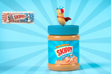 Skippy Peanut Butter and skateboard