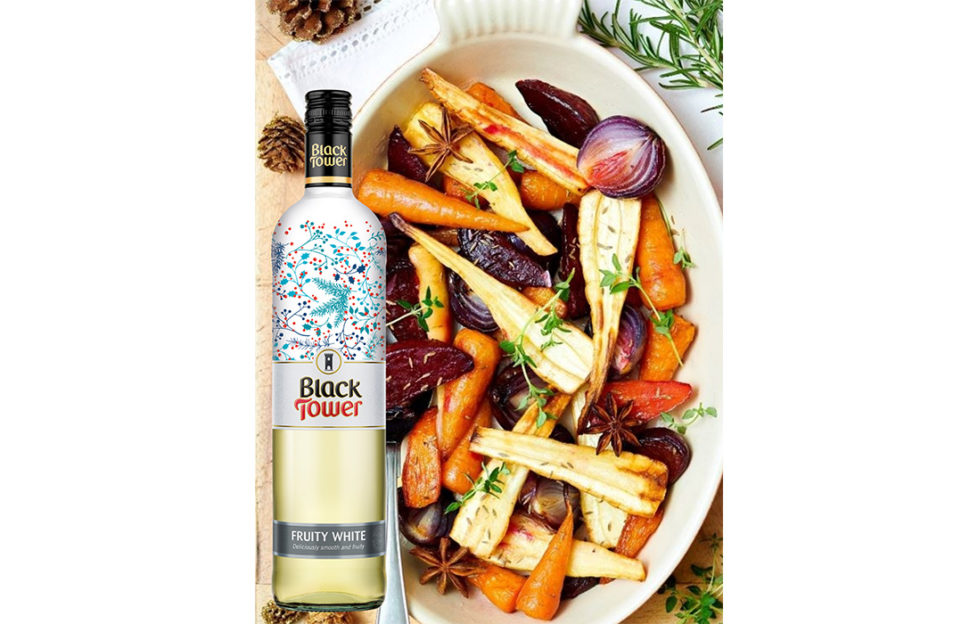 Fruity festive white wine with roasted veg!