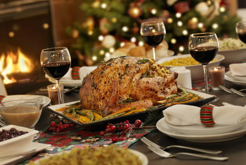 Turkey and all the trimmings with wine Pic: Istockphoto