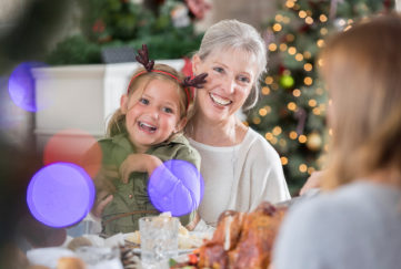Three generations of women enjoy Christmas dinner