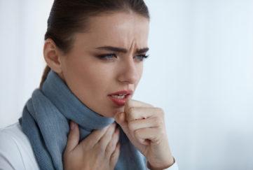 Cough. Beautiful Women Having Sore Throat Cough Cold
