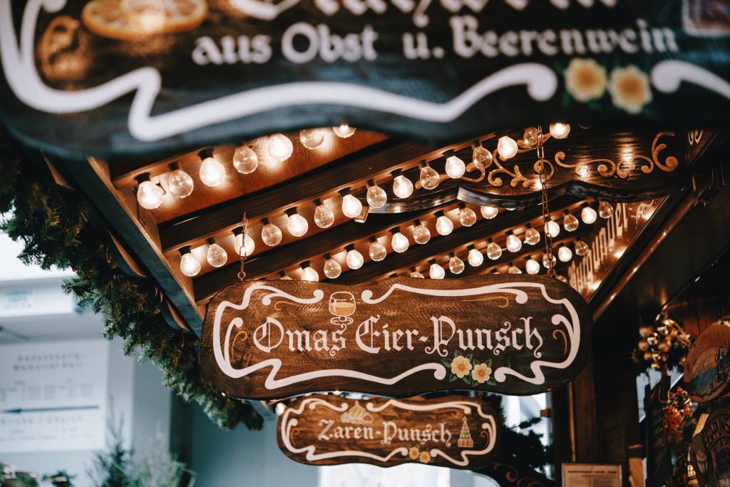 German signs in a Christmas market