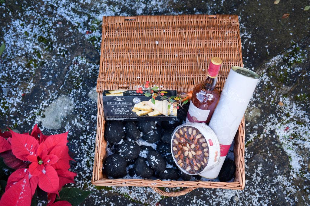 Lidl basket of Hogmanay food and coal