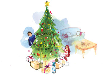 A man and woman behind a Christmas tree Illustration: Celine Wong, www.artoflihua.com
