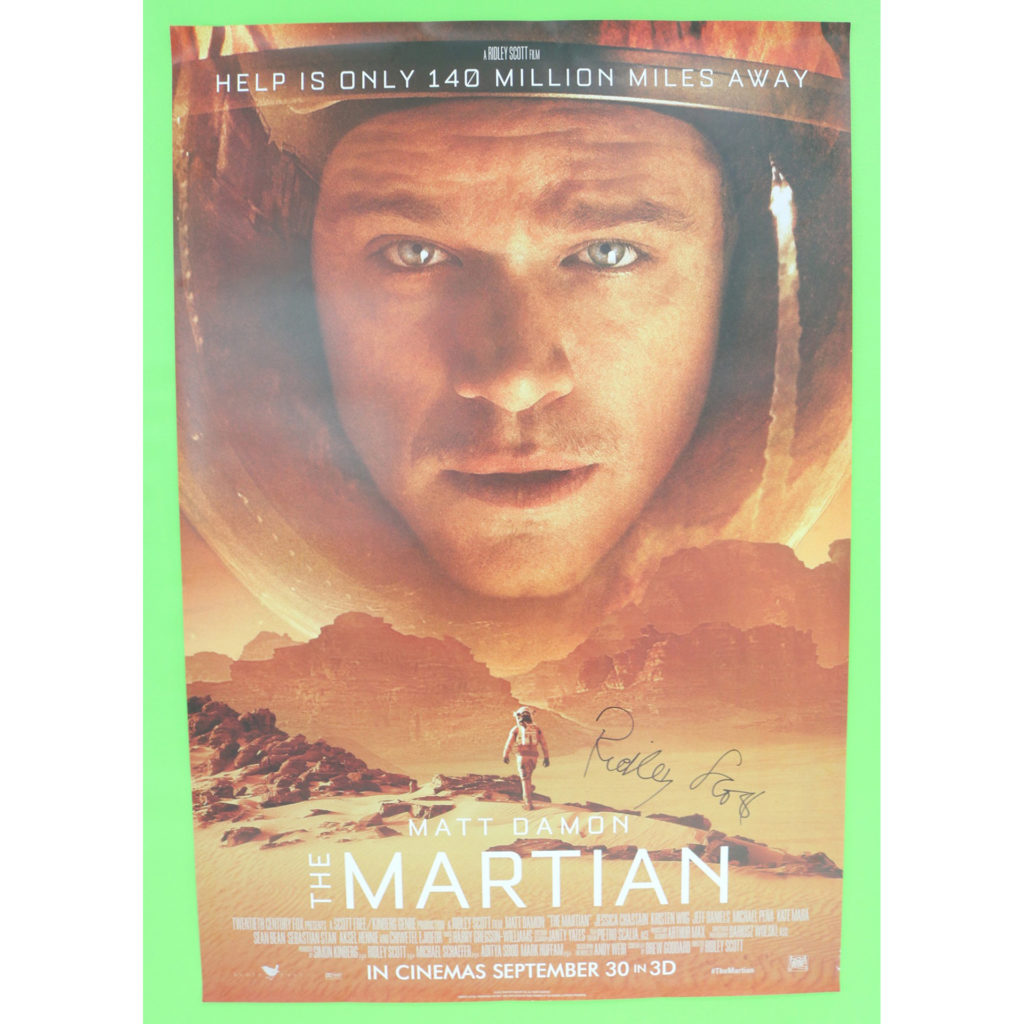 The Martian poster, signed by director Ridley Scott