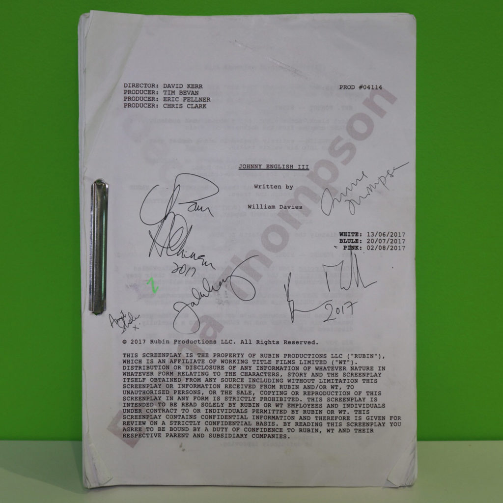 Johnny English 3 signed script