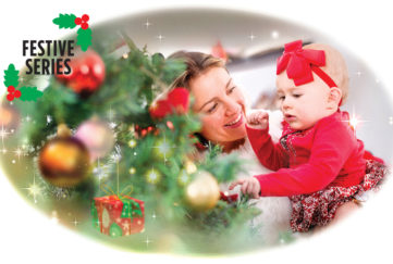Lady with baby at Christmas Tree Illustration: Istockphoto, Mandy Dixon