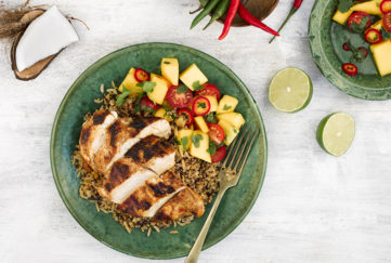 Cajun chicken and mango salsa