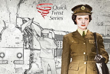 Lady in kakhi army uniform on station platform Illustration: Mandy Dixon