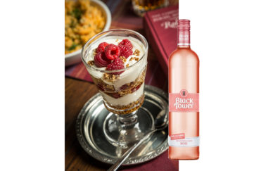 Cranachan dessert with a bottle of Black Tower's Deliciously Light Rose wine
