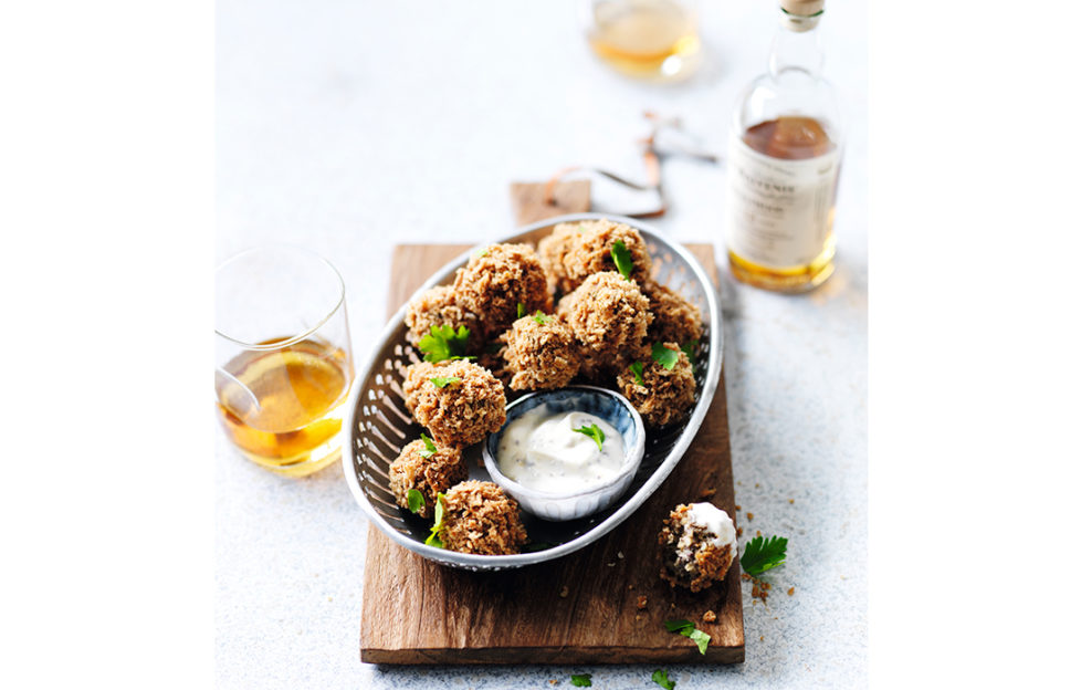 Haggis bon bons and a whisky dipping sauce