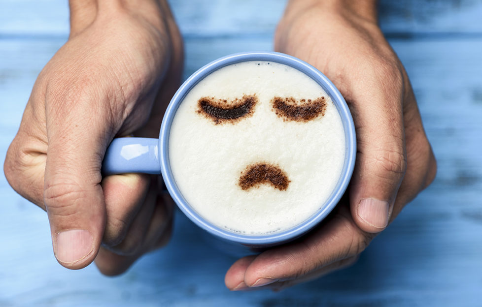 Coffee with a sad face image in froth Pic: Istockphoto