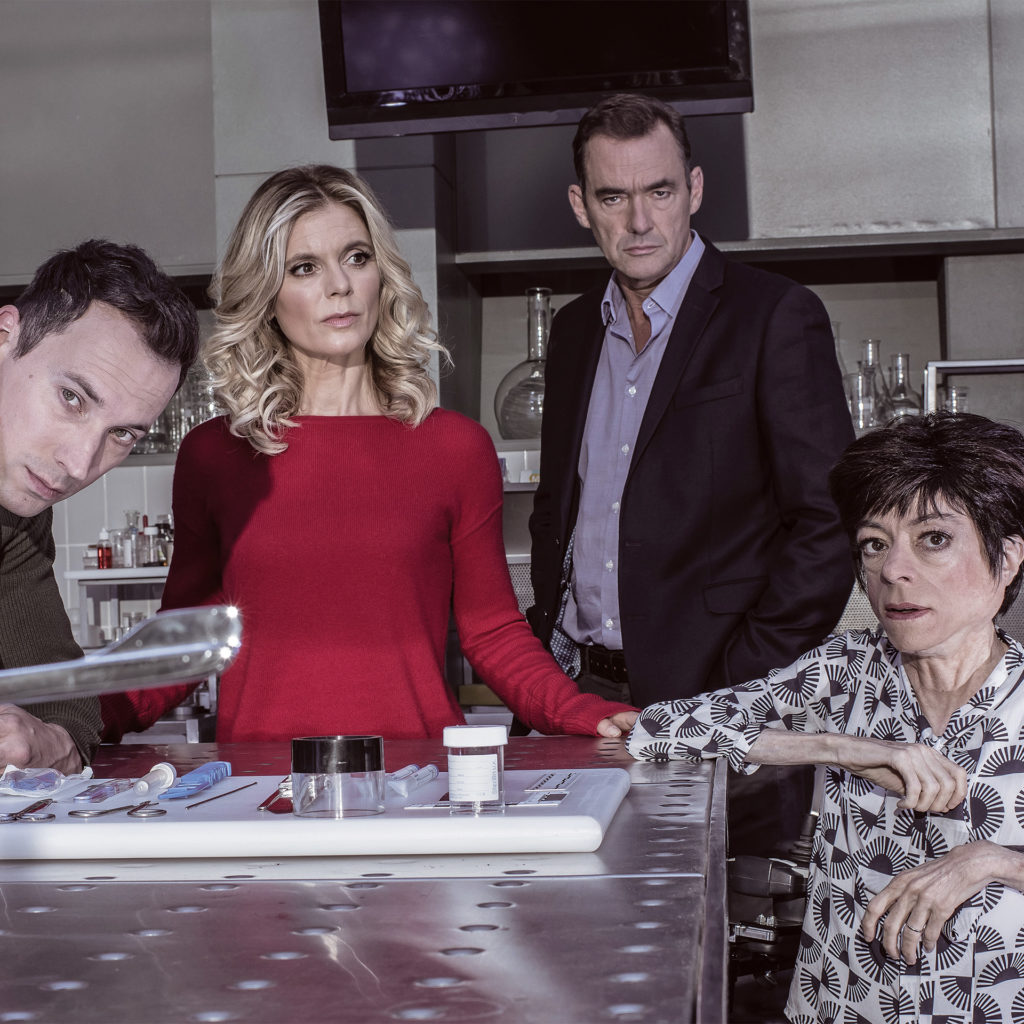 The 4 main characters in Silent Witness, Jack, Nikki, Thomas and Clarissa, looking serious