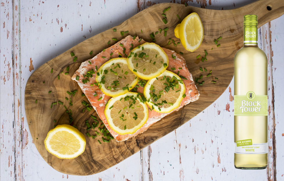 Lremon & Chive Salmon with Deliciously Light White from Black Tower