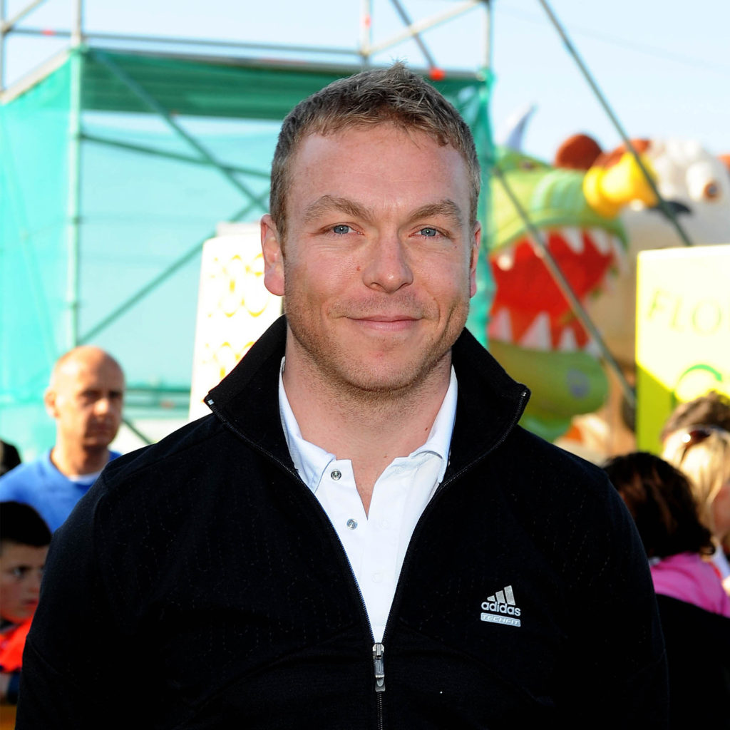 Sir Chris Hoy, Olympic cyclist, in casual clothes at event promoting cycling