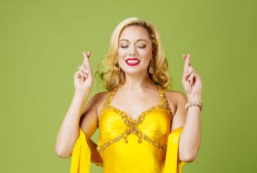 model in yellow dress