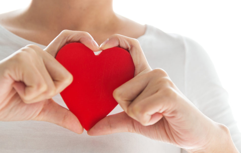 Young woman's hands holding a red heart. Love and health care concept.