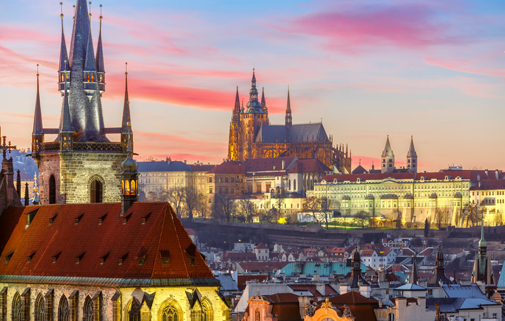 Aerial view over Old Town and Prague Castle at sunset Pic: Istockphoto