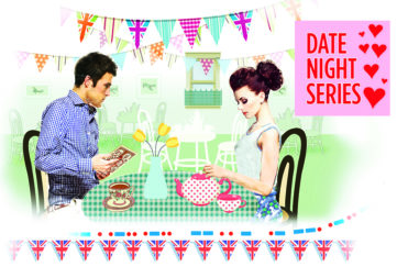 Modern couple in a nostalgic cafe setting with bunting and tablecloths Ilustration: Mandy Dixon, Istockphoto