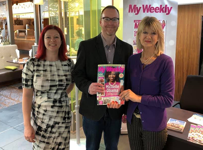 Editor Stuart Johnstone, Kirsty and author Jane Corry
