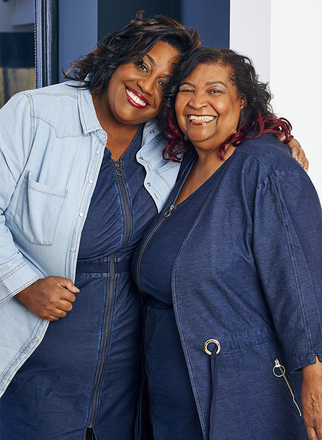 Alison Hammond and mum Maria in blue denim shirts and dresses