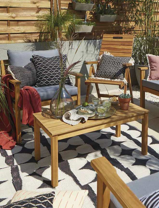 Denia Coffee Set from B & Q. Add cushions and soft furnishings to make a comfortable and relaxing space.