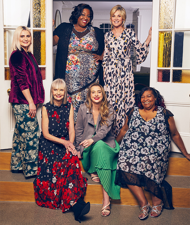 Standing: Claudia, Alison and Anrhea. Seated: Jan, Daisy and Maria, all in bright coloured clothes, many floral patterned