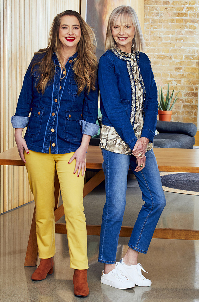 Jan de Villeneuve and daughter Daisy in blue and yellow jeans respectively