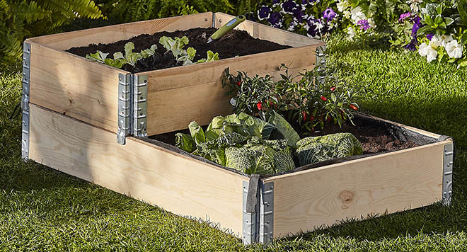 Small and large raised bed, stacked