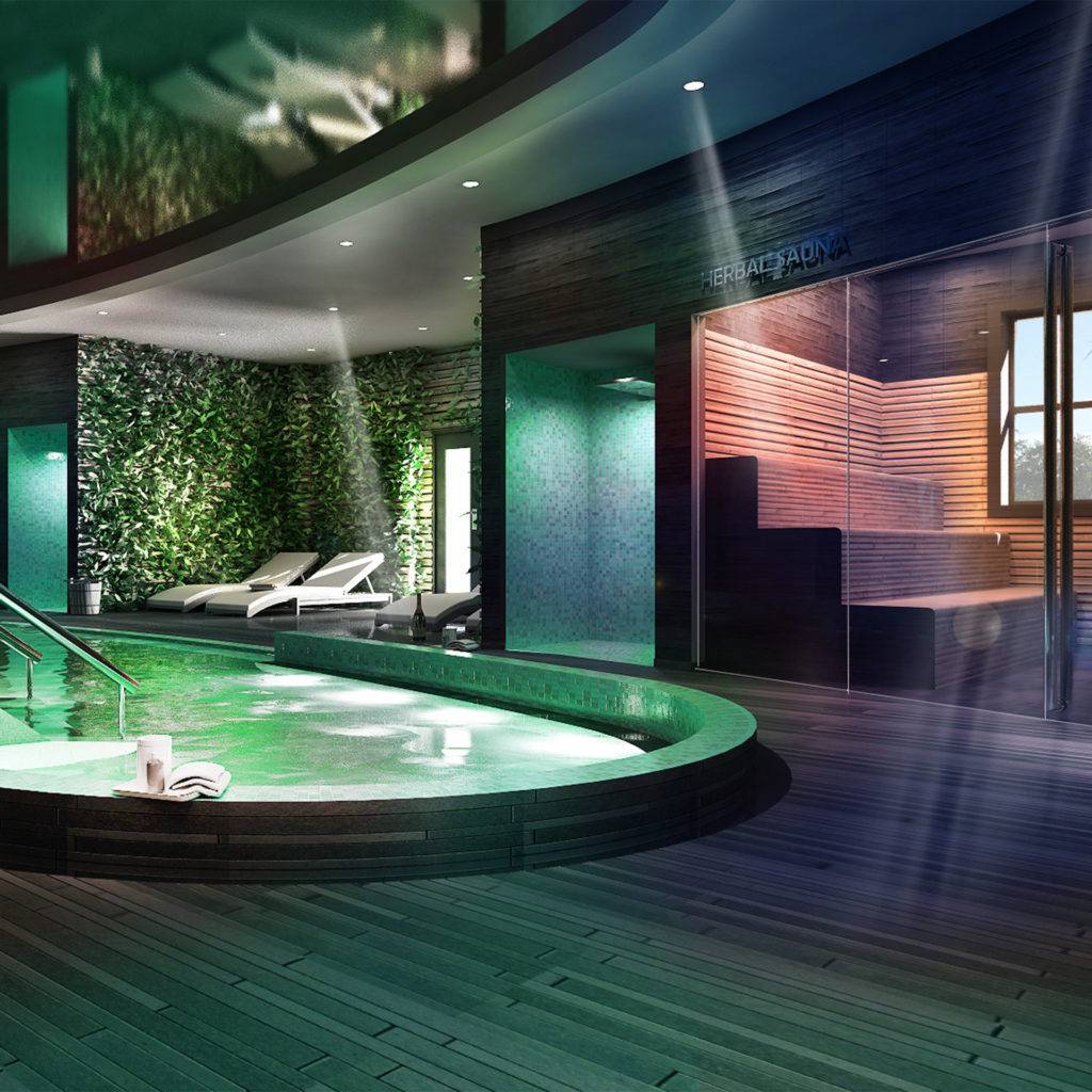 Modern indoor pool and sauna with mulri-coloured mood lighting at Ringwood Spa