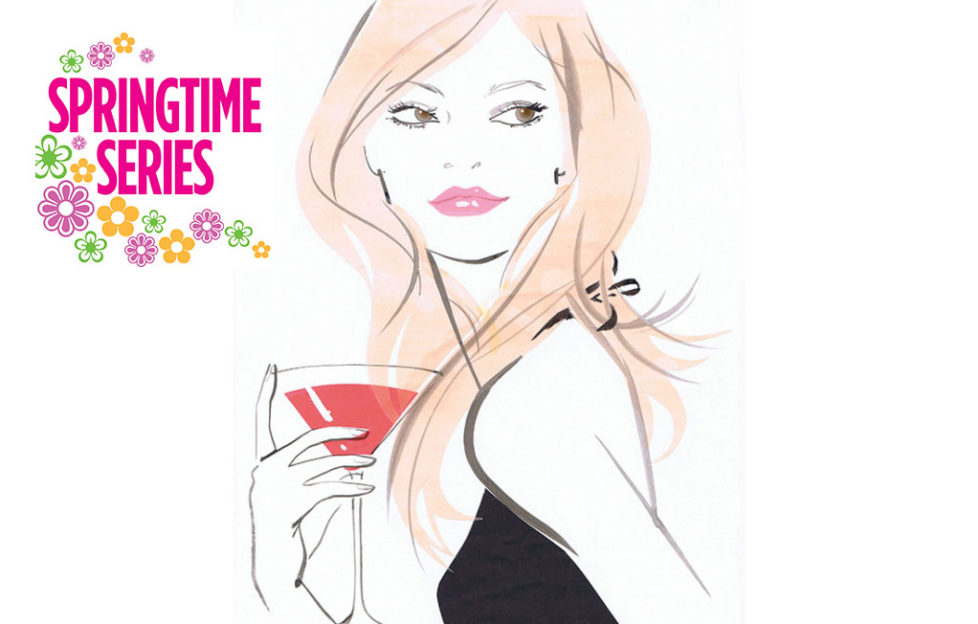 Elegant lady in black dress with cocktail Jacqueline Bisset, Stock Illustrations