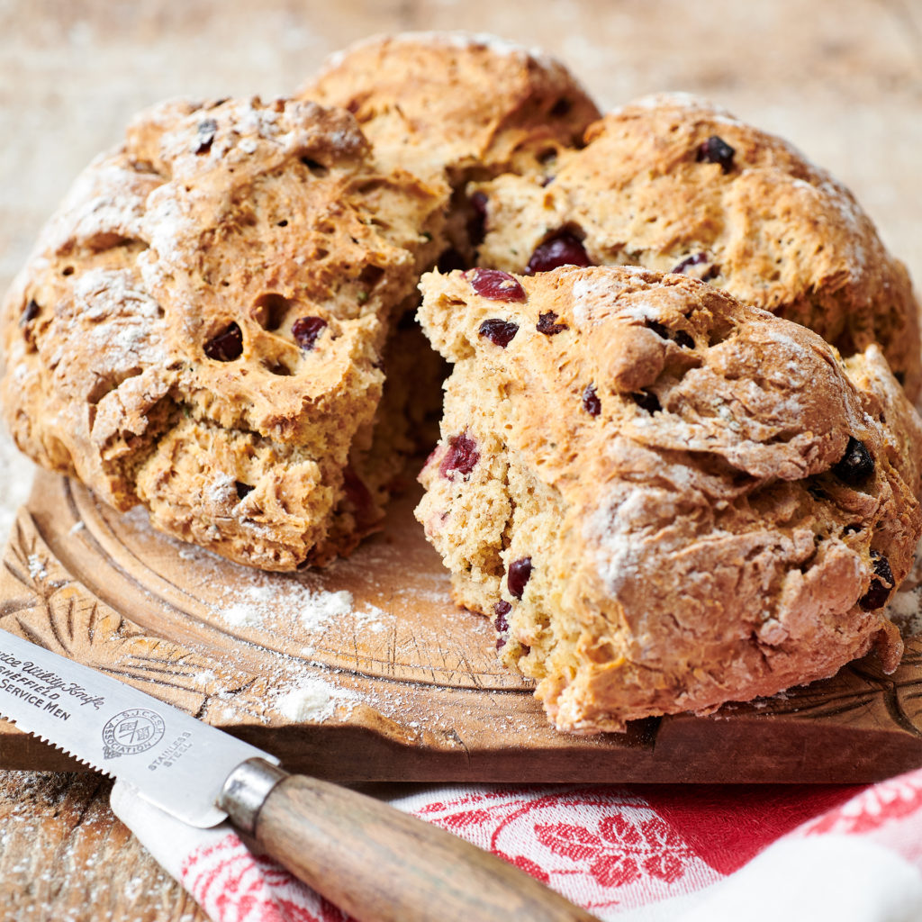 Crusty brown cranberry and rosemary soda bread