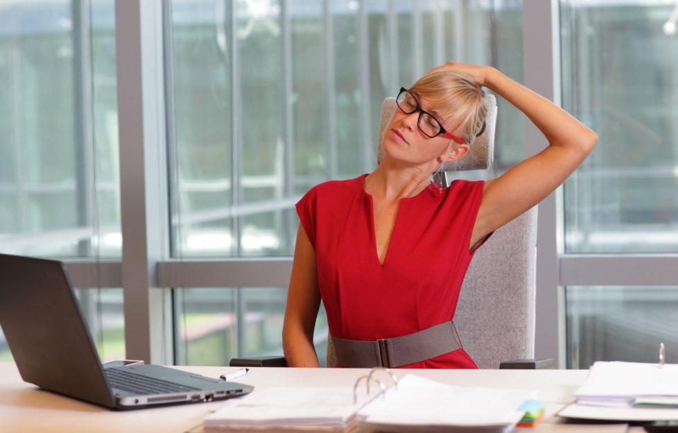woman desk exercise