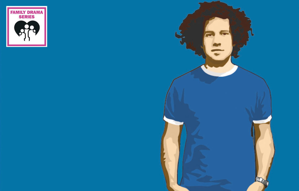 Image from photo of young mixed race man with short dreadlocks and royal blue t shirt, relaxed expression, on royal blue background