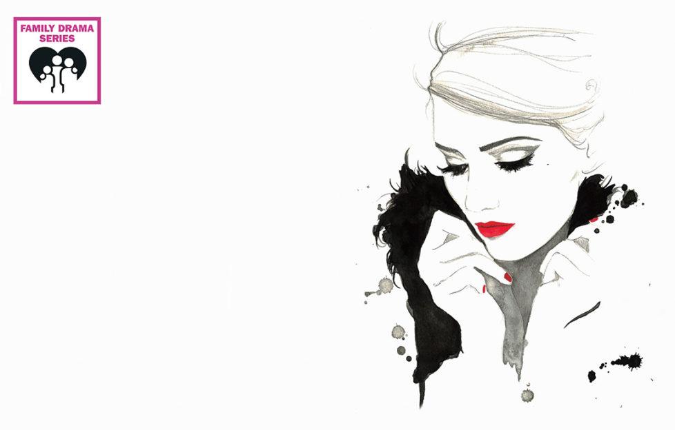 Elegant woman wearing red lipstick and fingernail polish