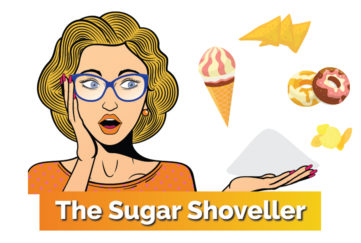 Cartoon of woman surrounded by sweet foods