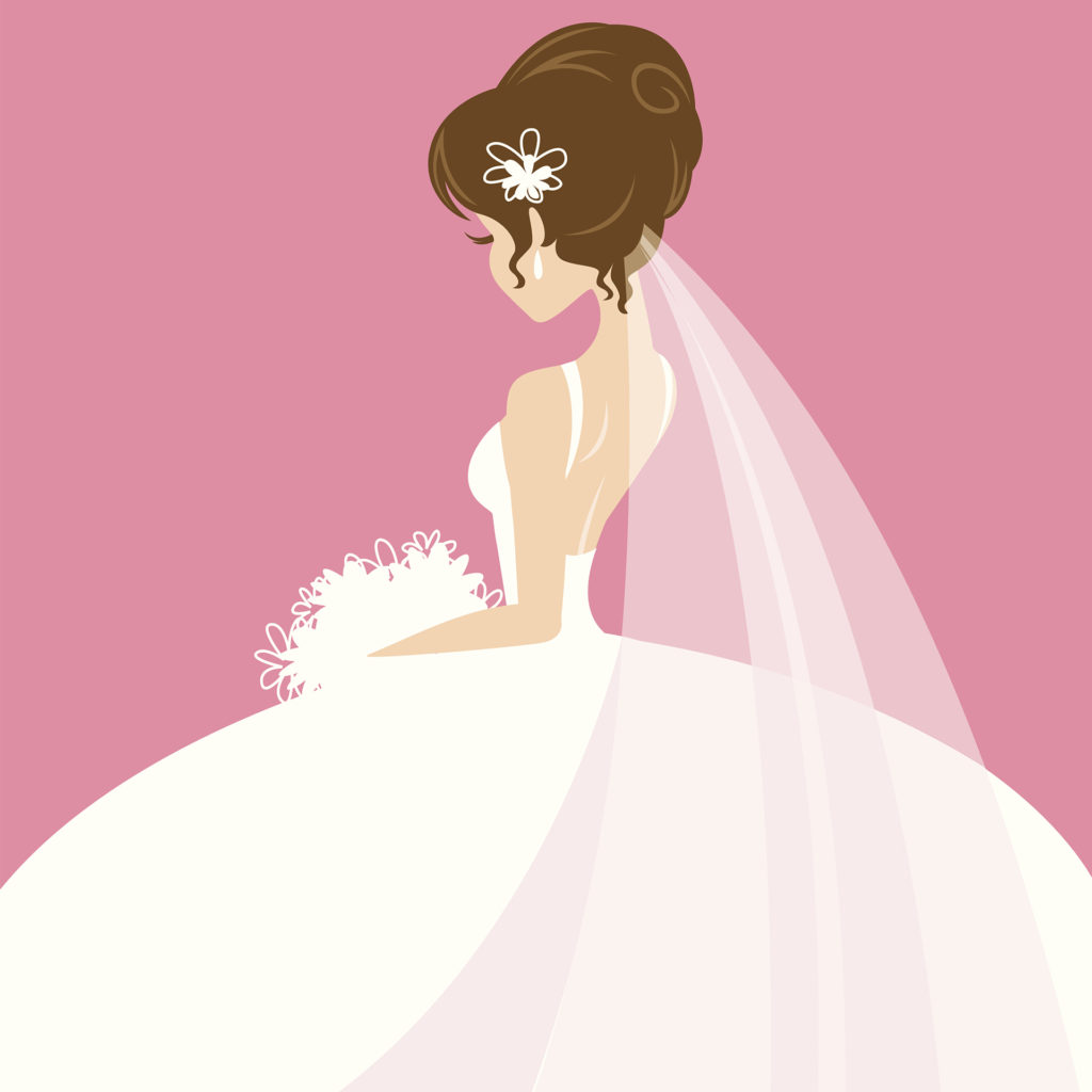 Illustration on a deep pink background of a bride in white, side view, looking down at her white bouquet.