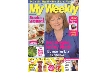 Cover of My Weekly latest issue June 25 with Lesley Nicol and community cookery, strawberry scones