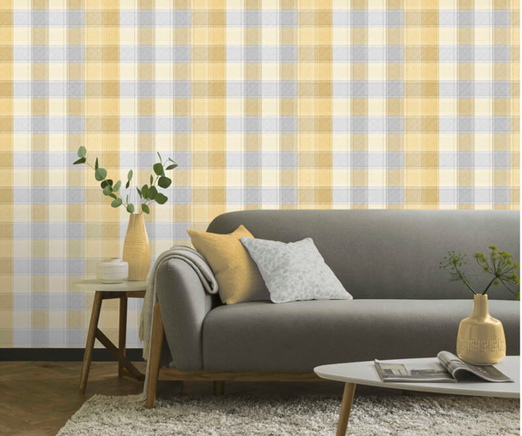 Arthouse County Check Wallpaper, Yellow