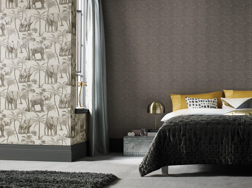 Arthouse Elephant Grove Wallpaper - Charcoal