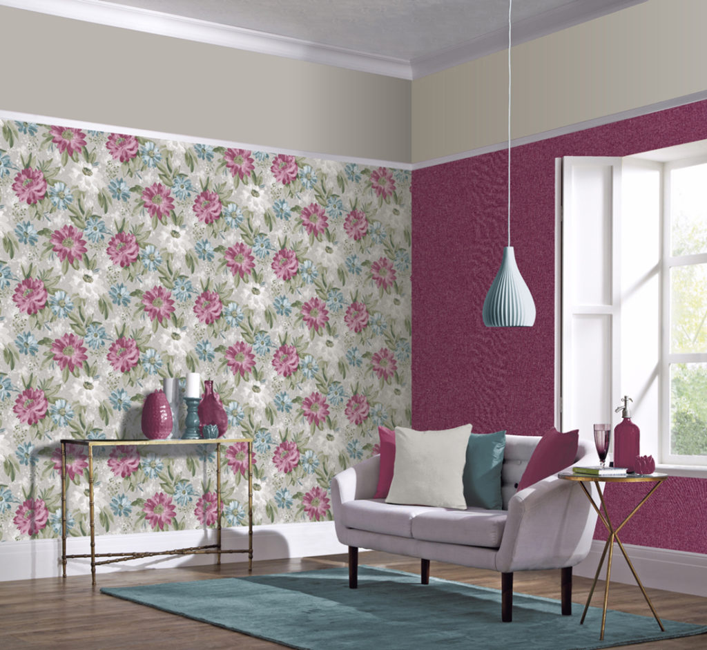 Arthouse Painted Dahlia Wallpaper - Raspberry