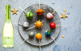 Galaxy pop cakes with Black Tower Deliciously Light Sparkling