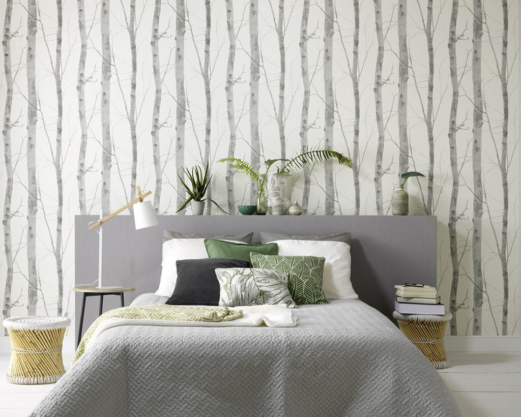 Erismann Tree Effect Wallpaper, Grey White