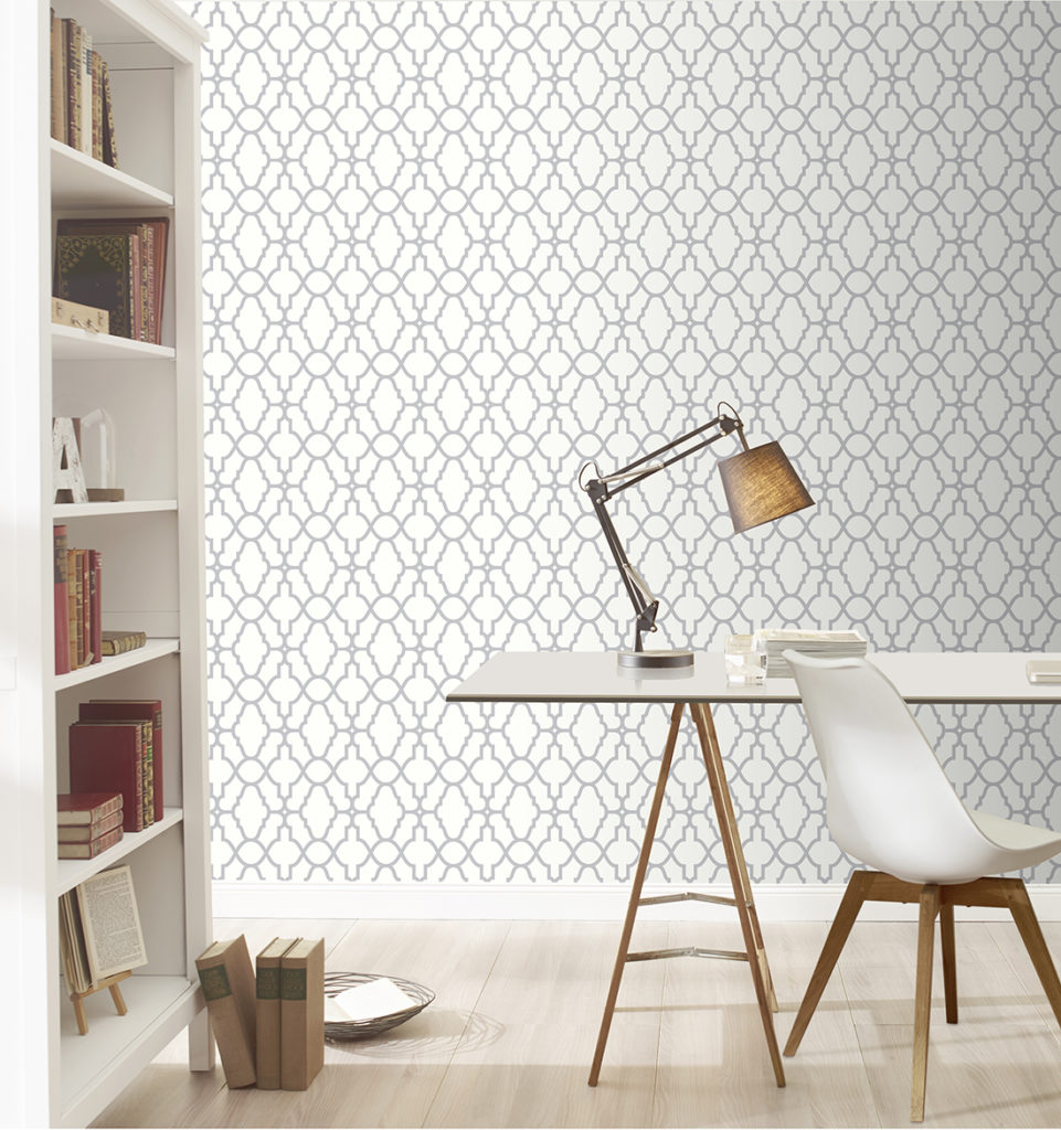 Rasch Casablanca Trellis Metallic Wallpaper, White
