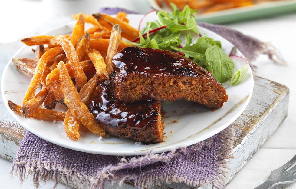 Vegan burger with sweet potato fries