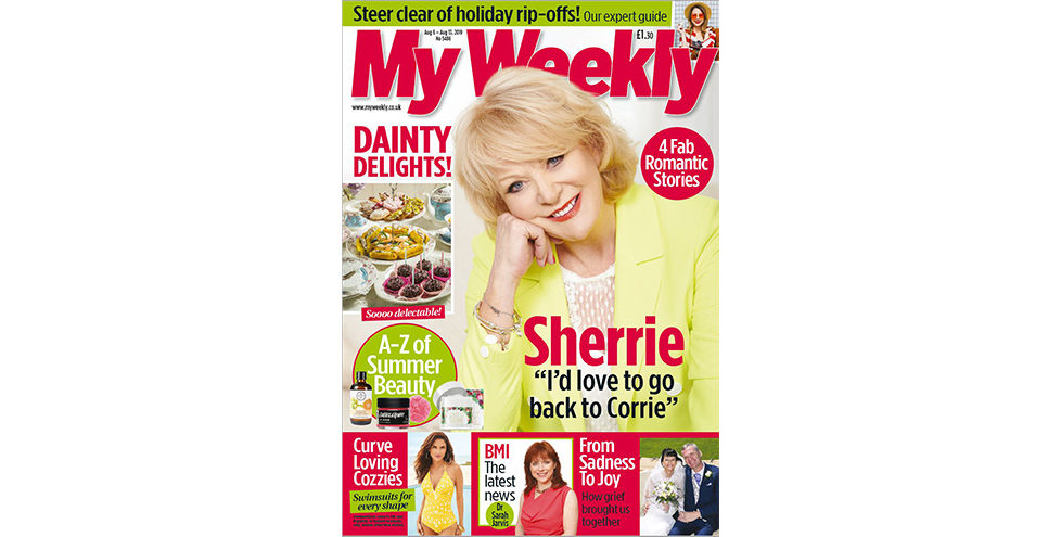 Cover of My Weekly latest issue with Sherrie Hewson and Dainty Delights cookery