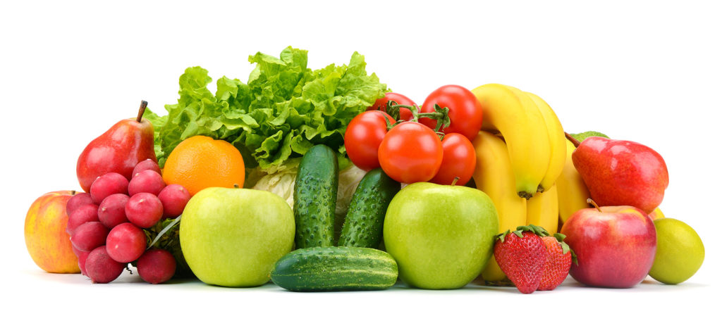 Collection of fruits and vegetables isolated on white background
