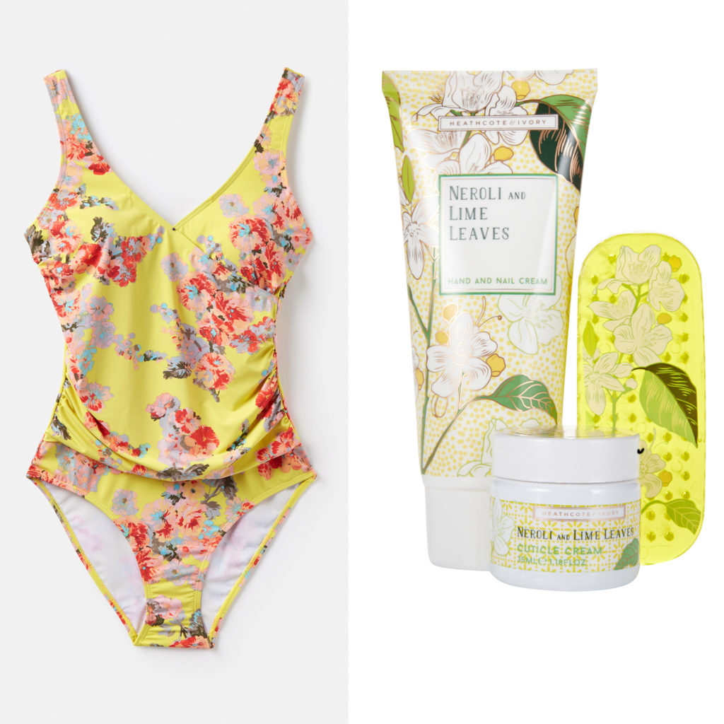 Pink and yellow floral swimsuit with ruching across the stomach, and a manicure set of a tub and tube of cream and a cuticle board