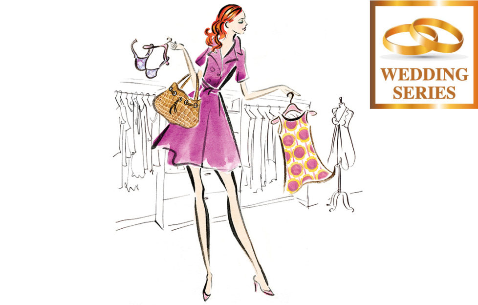 Illustration of tall girl clothes shopping